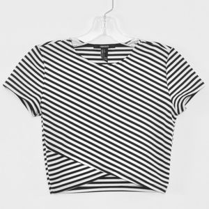 Forever 21 Women's Stretch Striped Crop Top Small